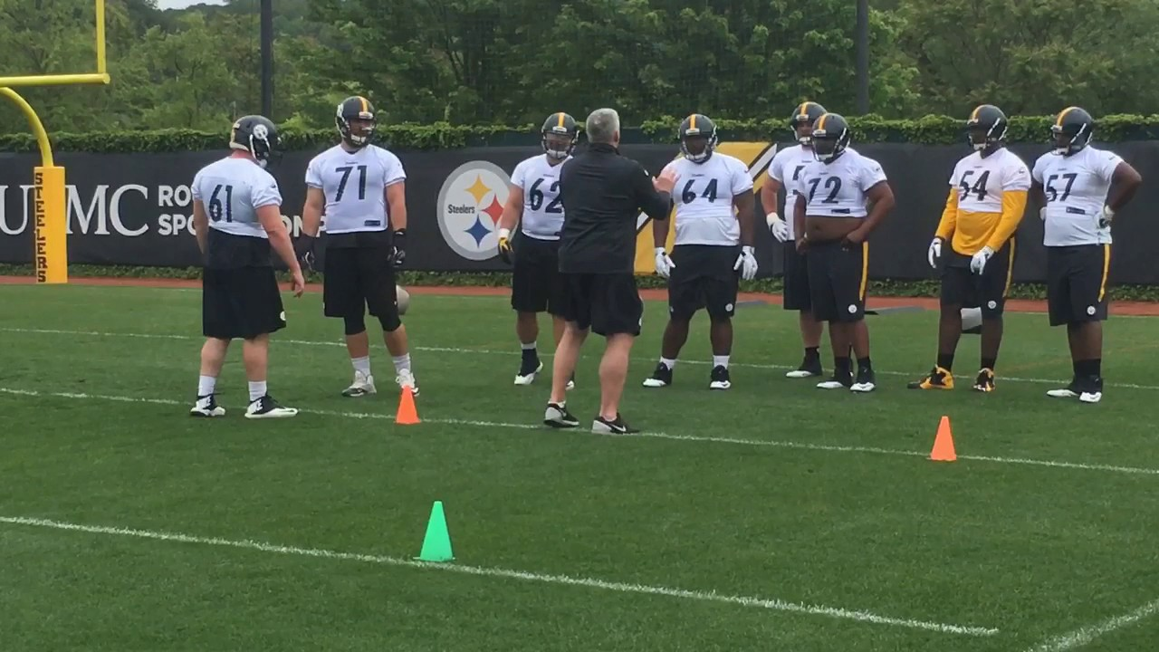 huge selection of 8a9f4 9e0e0 Greater Harrisburg's Ethan Cooper, Kyle Friend go through Pittsburgh  Steelers OL drills
