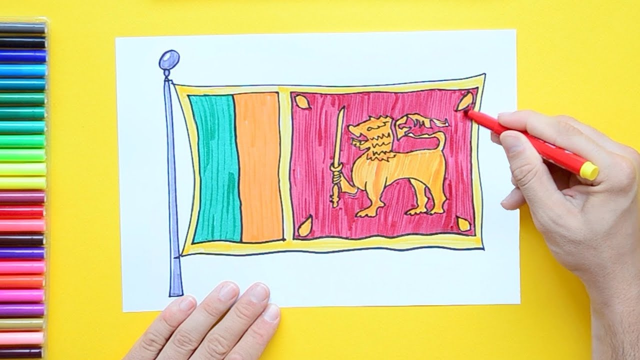 sri lanka flag coloring page - how to draw and color the national flag of sri lanka youtube