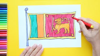 How to draw and color the National Flag of Sri Lanka