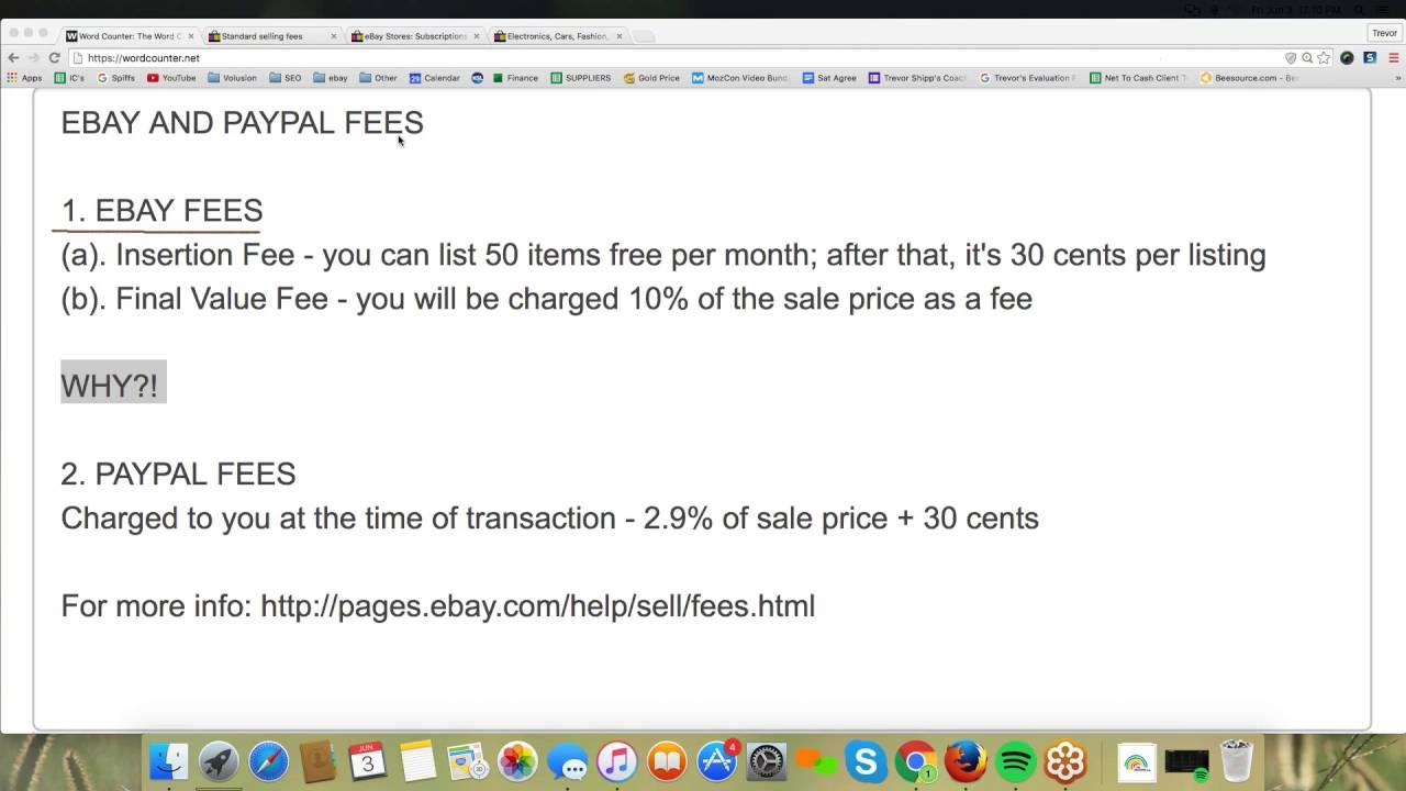 ebay and Paypal Fees Tutorial
