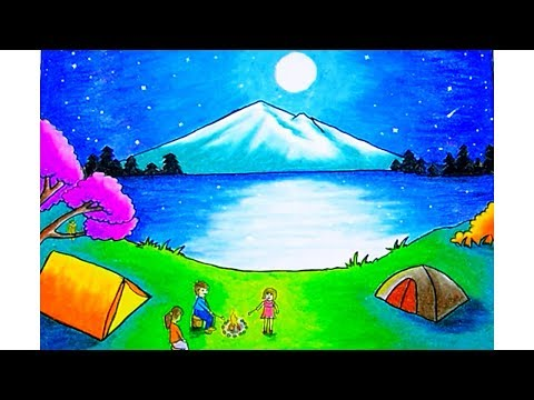 """Cara Menggambar Pemandangan """"Moonlight"""" (drawing Scenery Moonlight) Dengan Gradasi Warna Oilpastel"""
