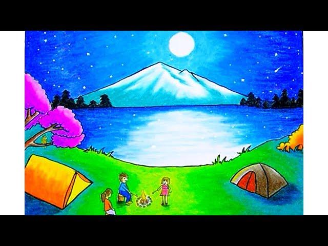 Cara menggambar pemandangan Moonlight (drawing scenery moonlight) dengan gradasi warna oilpastel