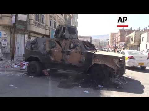 Damage to Sanaa neighbourhood after intense fighting