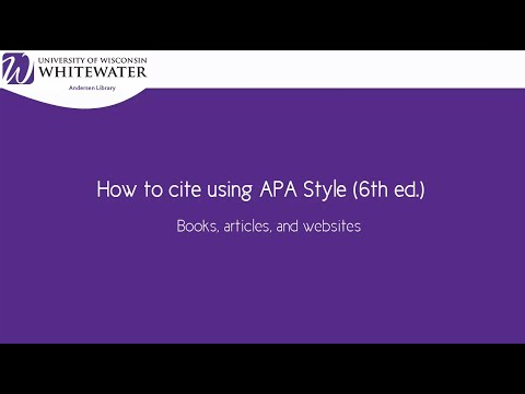 How to cite using APA style (6th ed.): Book, article, and website