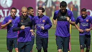 FC Barcelona training session: last session before derby