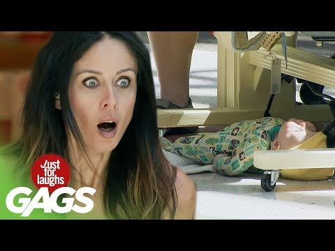 Baby Falls Out of Carrycot Prank - Just For Laughs Gags