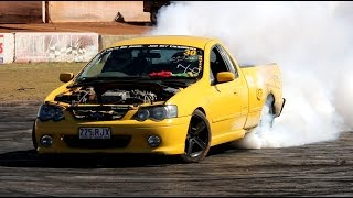 Ford BA xr6 Ute tyre popping SKID at Talks Cheap Burnouts