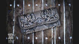 Изготовление кожаного кошелька с тиснением  Making a Handmade Leather Wallet