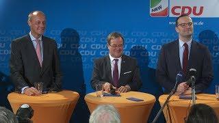 Pressekonferenz mit Armin Laschet, Friedrich Merz und Jens Spahn