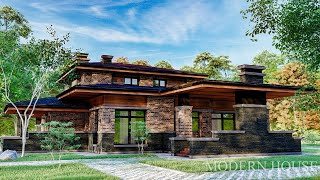 Загородный дом из кирпича, стиль Ф.Л.Райта.
