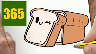 HOW TO DRAW A BREAD CUTE, Easy step by step drawing lessons for kids