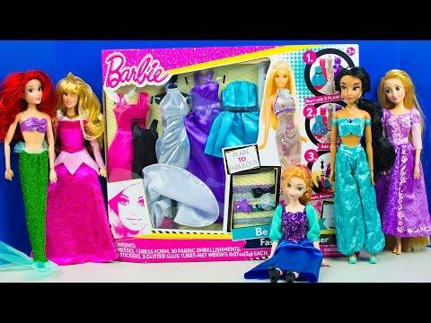 Barbie Doll Fashion Designer Disney Princess Dressup Party Frozen Ariel Aurora Jasmine Anna Rapunzel Youtube