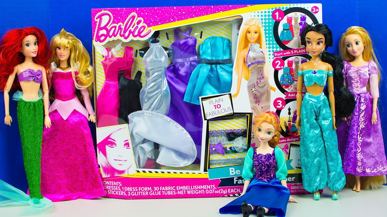 Barbie Doll Fashion Designer Disney Princess Dressup Party