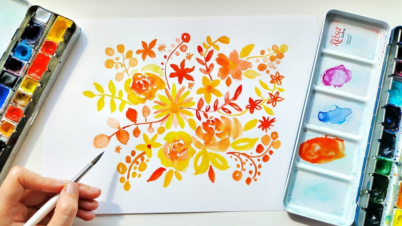 Watercolor Loose Floral Painting For Beginners Easy Flowers Ideas Asmr Drawing Youtube