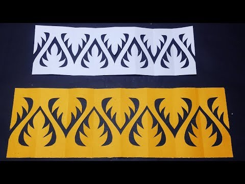 Paper Cut For Decoration-How To Make Easy Paper Cutting Border Design For Decoration Step By Step.