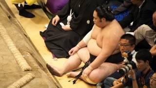 20140525 夏場所千秋楽 土俵下の千代鳳」 ずっと小刻みに動いています。