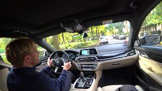 [4k] BMW M760Li slow citydriving with V12 BiTurbo (out of focus unfortunately)