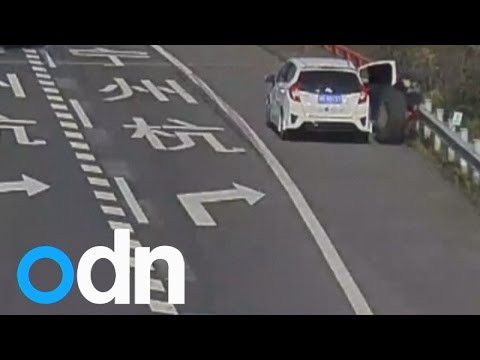 Thumbnail: Runaway tyre violently hits woman resting on road shoulder in China
