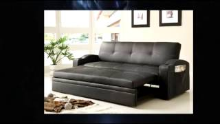 Homelegance 4803blk Convertible Adjustable Sofa Bed Black Bi-cast Vinyl