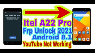 Itel A22 Pro 8.1 Frp Bypass Without Pc 2021||Youtube Not Working||Bypass Google Account 100% Working