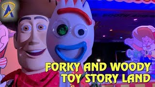 Forky appears with Woody during Toy Story 4 Press Event
