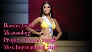 Barsha Lekhi wins Missosology People's Choice award at Miss International 2016