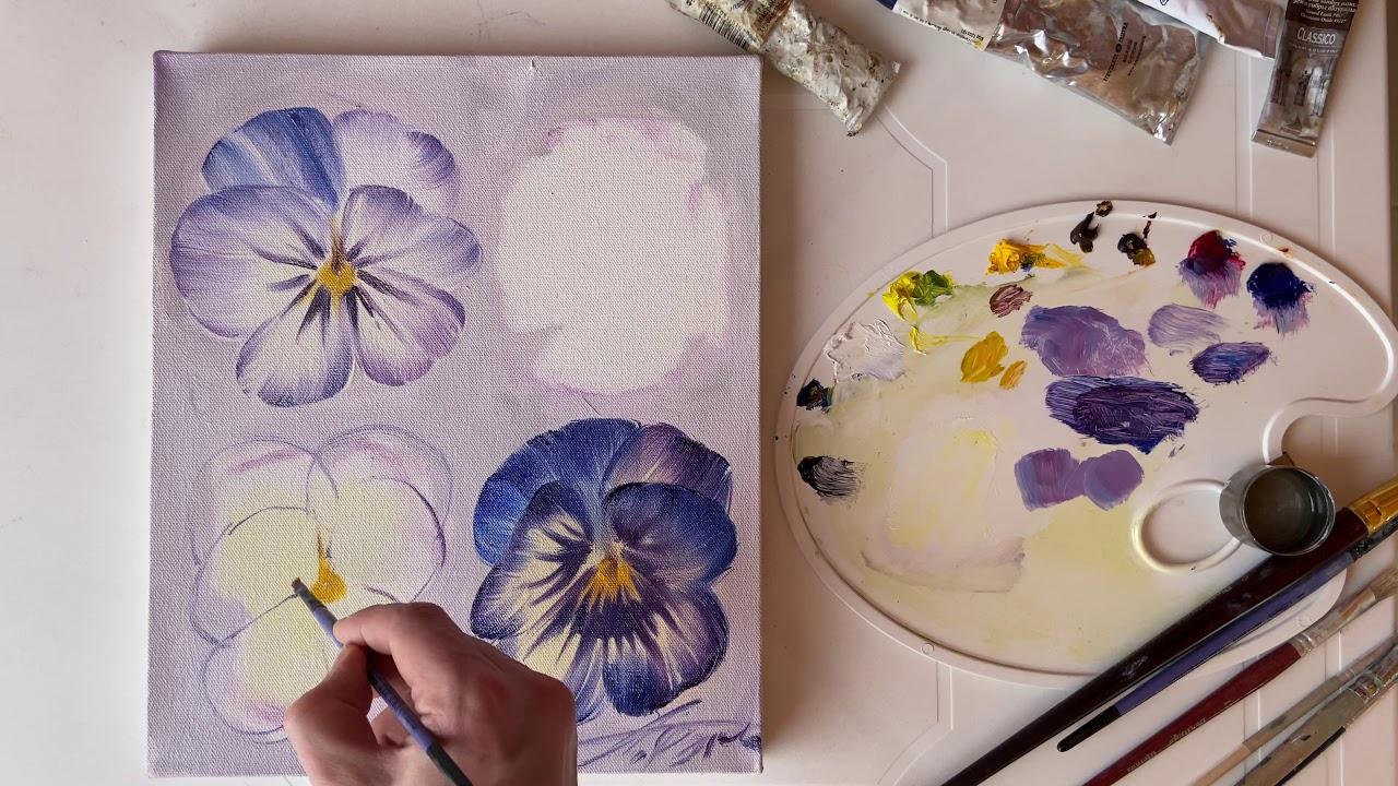 Как писать цветы маслом «Анютины глазки» Ч 3 - YouTube