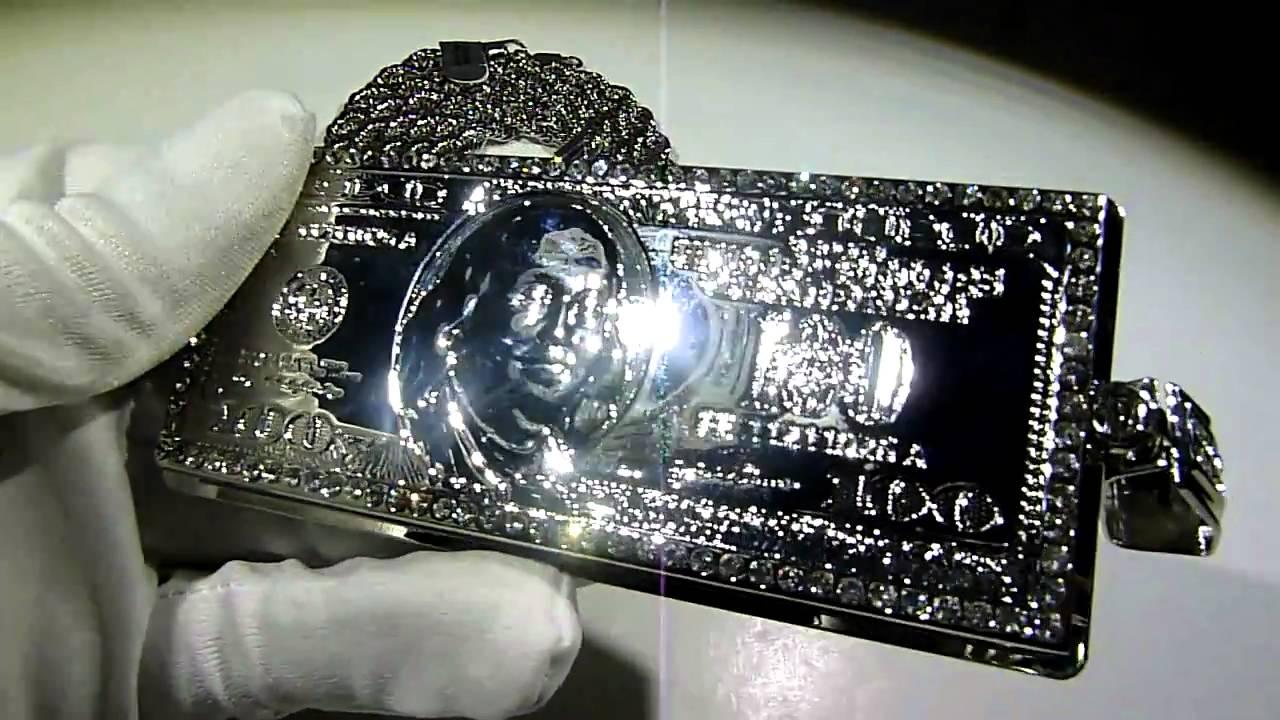 SOLD 175 Lab Made Diamond 100 Dollar Bill Lab Made