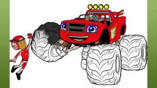 Игра Вспыш и чудо машинки. Раскраска.  Blaze and the Monster Truck