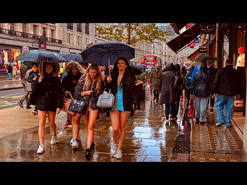 Central London In Rain Showers | London West End Walk Oct - 2021 [4k HDR]