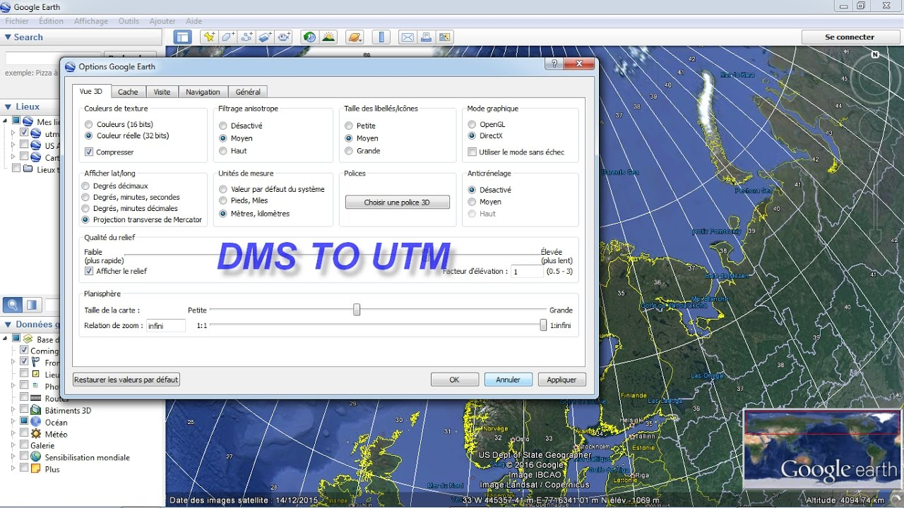 Change Projection Coordinate System in Google Earth