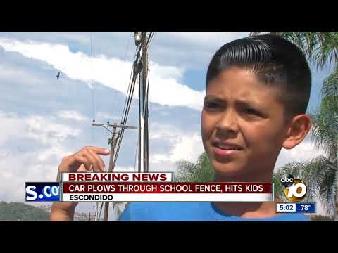 Car plows through North County school fence, hits kids - YouTube