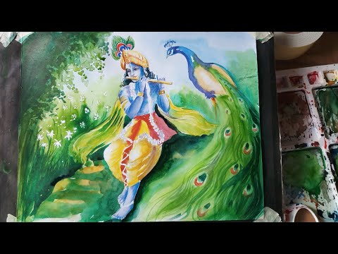 Painting Lord Krishna with watercolour