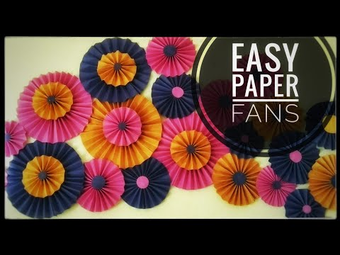 Easy Paper fans / Paper fan Backdrop / Easy birthday decoration with paper