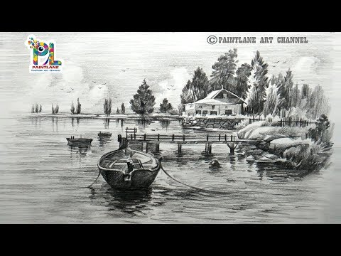 How to draw Landscape with Wooden Boat With Pencil | For Beginners