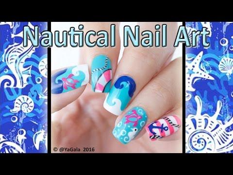 Nautical Nail Art / Морской дизайн ноггтей