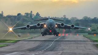 Spectacular USAF - Boeing C-17 Globemaster head-on take off RAF Northolt Airbase London