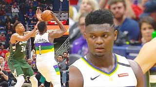 Zion Williamson Gets Murdered By Giannis Block Then Gets Revenge Ripping Ball! Pelicans vs Bucks