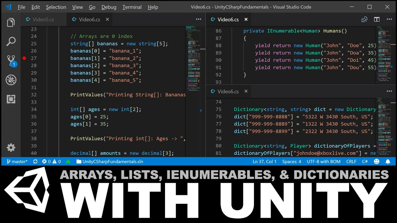 Unity C# Fundamentals - Collections, Arrays, Lists, IEnumerables, and  Dictionaries