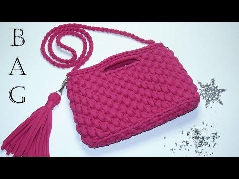Сумка 2 из трикотажной пряжи. Вязание крючком. Bag of knitting yarn. Crochet.