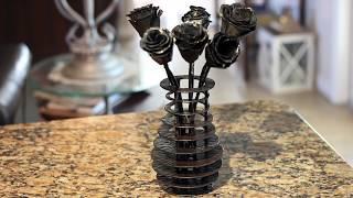 Blacksmith rose & silhouette vase | Sculpture