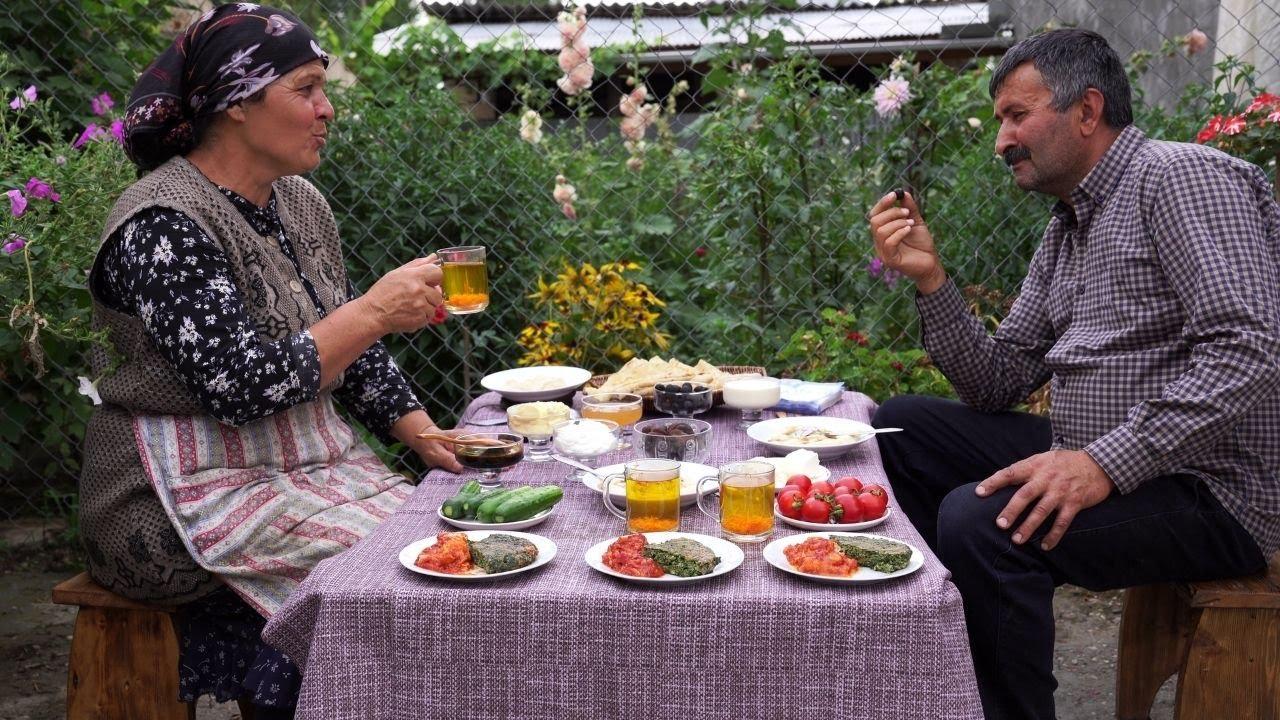 Making TRADITIONAL AZERBAIJANI COUNTRYSIDE BREAKFAST With Fresh Bread
