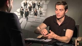 NOW YOU SEE ME interview - Dave Franco card trick! Plus Jesse Eisenberg, Morgan Freeman