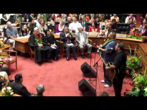 Sean Naauao Sings at 2011 Hawaii Senate Opening, Pt. 2