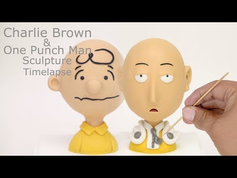 Charlie Brown & One Punch Man Sculpture Timelapse - Hand Sculpted, Bust