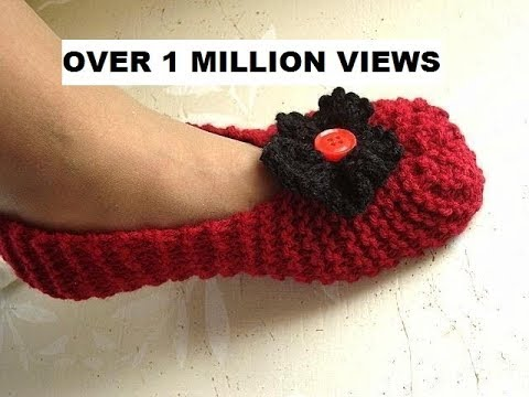 Free Knit Slipper Patterns Beginners : Knitted slippers for beginners, free knitting video for unisex slippers for m...