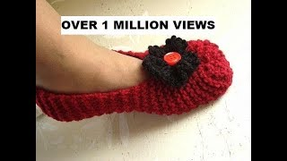 Repeat youtube video Knitted slippers for beginners, free knitting video for unisex slippers for men or women.