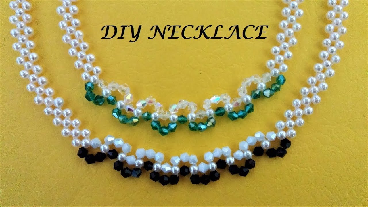 Diy Pearl And Crystal Beading Necklace Easy Handmade Jewelry