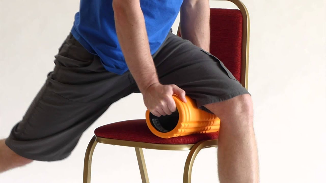Hamstrings foam roller self treatment Deep on chair