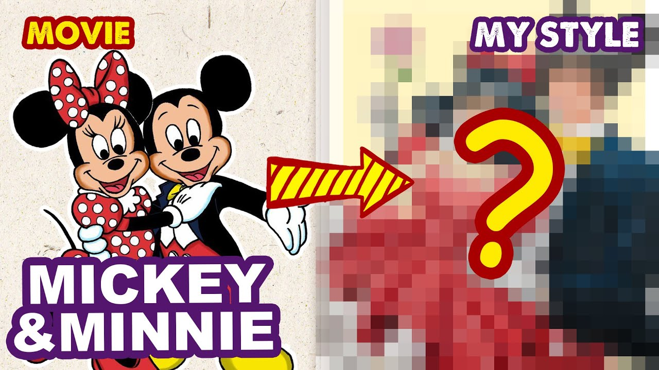 How To Draw Mickey Mouse And Minnie Mouse | Semi Realistic Style | Huta Chan